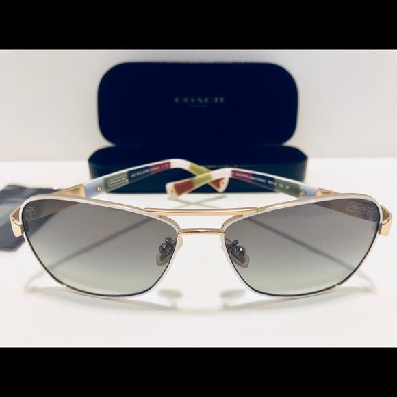 338c42d160db COACH Accessories | Caroline Sunglasses Goldwhite Pilot New 56 ...